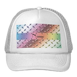 Personalize name rainbow diamond plate steel hats