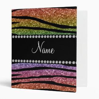 Personalize name rainbow glitter zebra stripes 3 ring binder