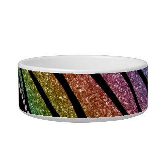 Personalize name rainbow glitter zebra stripes bowl