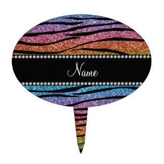 Personalize name rainbow glitter zebra stripes cake toppers
