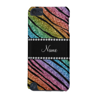 Personalize name rainbow glitter zebra stripes iPod touch 5G cover