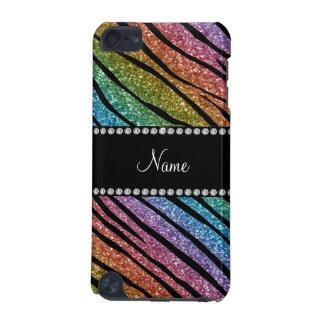 Personalize name rainbow glitter zebra stripes iPod touch 5G case