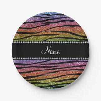 Personalize name rainbow glitter zebra stripes 7 inch paper plate