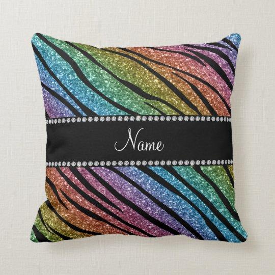 Personalize name rainbow glitter zebra stripes throw pillow
