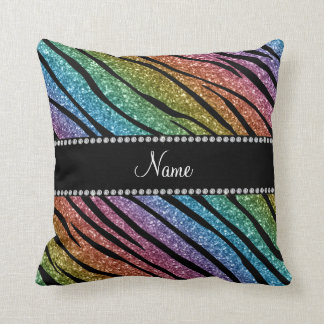 Personalize name rainbow glitter zebra stripes throw pillow