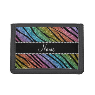 Personalize name rainbow glitter zebra stripes trifold wallets