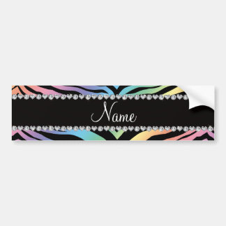 Personalize name rainbow tiger stripes bumper stickers