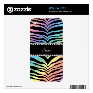 Personalize name rainbow tiger stripes iPhone 4S decals