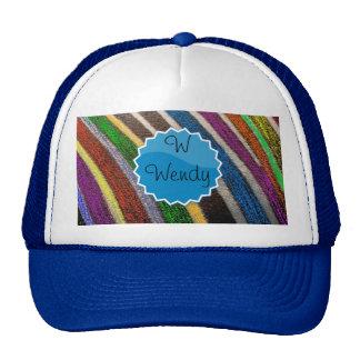 Personalize Name Rainbow Zebra Safari Monogram Hat
