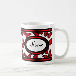 Personalize Name Red Black Butterfly Monogram Coffee Mug