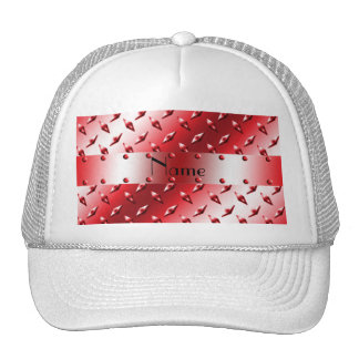 Personalize name red diamond plate steel hat