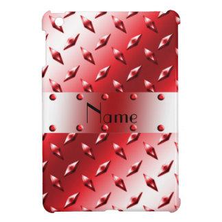 Personalize name red diamond plate steel iPad mini cover