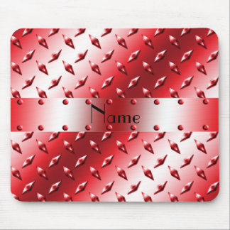 Personalize name red diamond plate steel mouse pad