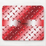 Personalize name red diamond plate steel mouse pads