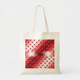Personalize name red diamond plate steel tote bag