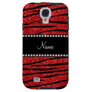 Personalize name red glitter zebra stripes galaxy s4 case