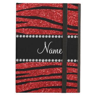 Personalize name red glitter zebra stripes iPad air cover