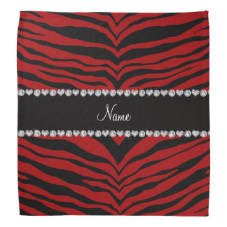 Personalize name red tiger stripes bandana