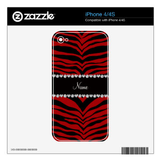 Personalize name red tiger stripes decals for iPhone 4