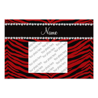 Personalize name red tiger stripes photo print