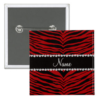 Personalize name red tiger stripes pinback button