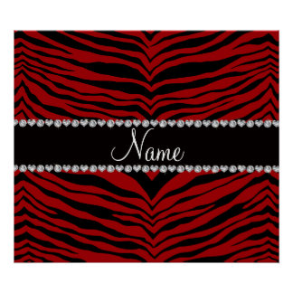 Personalize name red tiger stripes poster