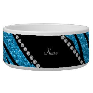 Personalize name sky blue glitter zebra stripes bowl