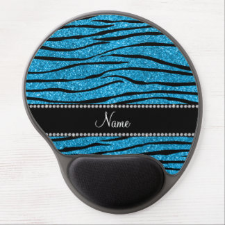 Personalize name sky blue glitter zebra stripes gel mouse pad