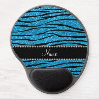 Personalize name sky blue glitter zebra stripes gel mouse pad