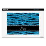 Personalize name sky blue glitter zebra stripes laptop skin