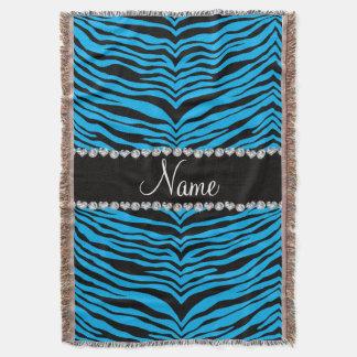 Personalize name sky blue tiger stripes throw
