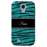 Personalize name turquoise glitter zebra stripes