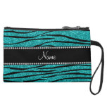 Personalize name turquoise glitter zebra stripes wristlet