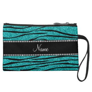 Personalize name turquoise glitter zebra stripes wristlet clutch