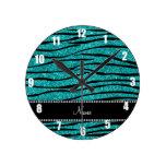 Personalize name turquoise glitter zebra stripes clock