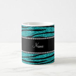 Personalize name turquoise glitter zebra stripes coffee mug