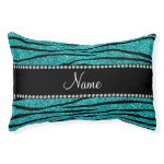 Personalize name turquoise glitter zebra stripes small dog bed