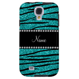 Personalize name turquoise glitter zebra stripes galaxy s4 case