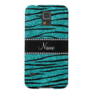 Personalize name turquoise glitter zebra stripes galaxy s5 case