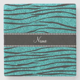 Personalize name turquoise glitter zebra stripes stone beverage coaster