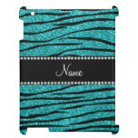 Personalize name turquoise glitter zebra stripes iPad cases
