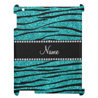 Personalize name turquoise glitter zebra stripes iPad cover