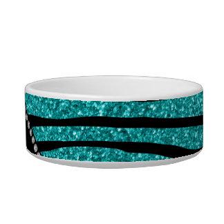 Personalize name turquoise glitter zebra stripes cat food bowl