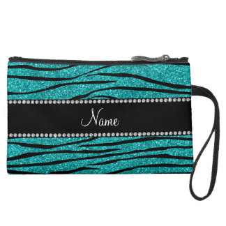 Personalize name turquoise glitter zebra stripes suede wristlet wallet