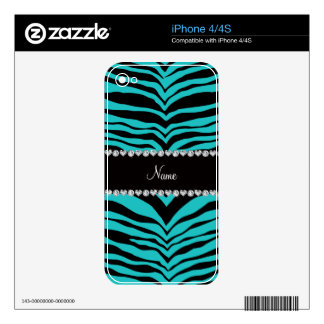Personalize name turquoise tiger stripes skin for the iPhone 4S