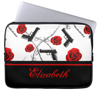Personalize Name Women's Red Rose Gun Barbed Wire Computer Sleeve