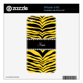 Personalize name yellow tiger stripes decal for the iPhone 4
