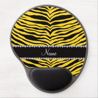 Personalize name yellow tiger stripes gel mousepad