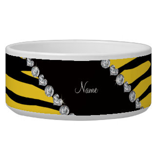 Personalize name yellow tiger stripes dog food bowls