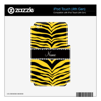 Personalize name yellow tiger stripes iPod touch 4G decal